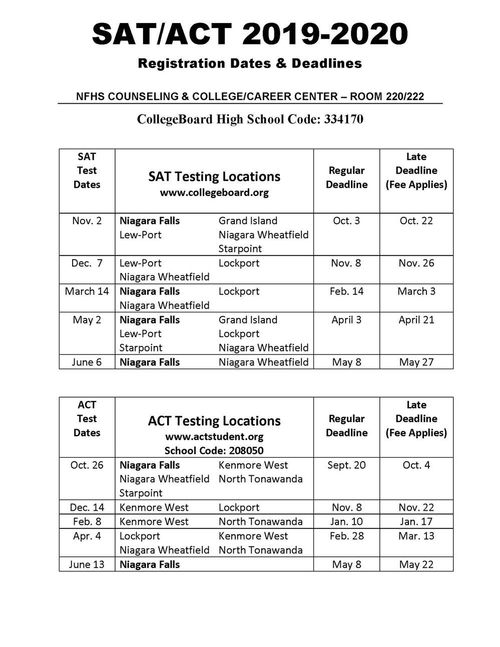 Counseling Center / SAT/ACT Information & Test Dates