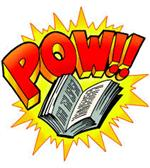 Clipart of open book and comic book pow exclamation
