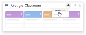 Step 2- go to the Plus button on upper right corner and click to join a class.