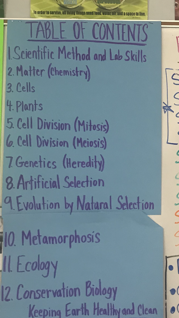 Life Science Table of Contents