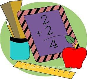 a picture of a  book with the numbers two, two, and four. Also it has a ruler, a pencil and an apple