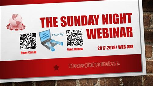 The Sunday Night Webinar Introduction